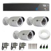 Kit de Câmeras de Segurança - DVR TVZ Security 4 Ch AHD M + 3 Câmeras Bullet AHD-BL1 TVZ Tecvoz Hibrida HD 720p lente HD 3.6mm + Acessórios