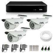Kit de Câmeras de Segurança - DVR Giga Security 4 Ch Tri-Híbrido AHD + 3 Câmeras Bullet Infravermelho 1000 Linhas Tudo Forte 2,8mm IP66 + Acessórios
