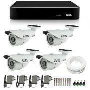 Kit de Câmeras de Segurança - DVR Giga Security 4 Ch Tri-Híbrido AHD + 4 Câmeras Bullet Infravermelho 1000 Linhas Tudo Forte 2,8mm IP66 + Acessórios