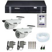 Kit de Câmeras de Segurança - DVR Intelbras 1004 4 Ch G2 + 2  Câmeras Bullet Infravermelho 1000 Linhas Tudo Forte 2,8mm IP66 + HD WD Purple 1TB + Acessórios