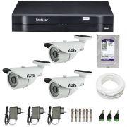 Kit de Câmeras de Segurança - DVR Intelbras 1004 4 Ch G2 + 3 Câmeras Bullet Infravermelho 1000 Linhas Tudo Forte 2,8mm IP66 + HD WD Purple 1TB  + Acessórios