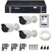 Kit de Câmeras de Segurança - DVR Intelbras 1004 4 Ch G2 HDCVI + 3 Câmeras Bullet Infravermelho Flex 4 em 1 Tecvoz QCB-136P HD 720p 1.0M + HD WD Purple 1TB + Acessórios