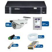 Kit de Câmeras de Segurança - DVR Intelbras 1008 8 Ch G2 + 8 Câmeras Bullet Infravermelho 1000 Linhas Tudo Forte 2,8mm IP66 + HD WD Purple 1TB + Acessórios