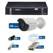 Kit de Câmeras de Segurança - DVR Intelbras 1008 8 Ch G2 HDCVI + 8 Câmeras Bullet Infravermelho Flex 4 em 1 Tecvoz QCB-136P HD 720p 1.0M + Acessórios