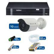 Kit de Câmeras de Segurança - DVR Intelbras 1016 16 Ch G2 + 10 Câmeras Bullet Infravermelho Flex 4 em 1 Tecvoz QCB-136P HD 720p 1.0M + Acessórios