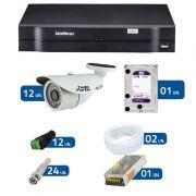 Kit de Câmeras de Segurança - DVR Intelbras 1016 16 Ch G2 + 12 Câmeras Bullet Infravermelho 1000 Linhas Tudo Forte 2,8mm IP66 + HD WD Purple + Acessórios