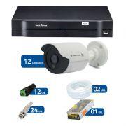 Kit de Câmeras de Segurança - DVR Intelbras 1016 16 Ch G2 + 12 Câmeras Bullet Infravermelho Flex 4 em 1 Tecvoz QCB-136P HD 720p 1.0M + Acessórios