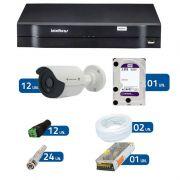 Kit de Câmeras de Segurança - DVR Intelbras 1016 16 Ch G2 + 12 Câmeras Bullet Infravermelho Flex 4 em 1 Tecvoz QCB-136P HD 720p 1.0M + HD WD Purple + Acessórios