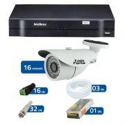 Kit de Câmeras de Segurança - DVR Intelbras 1016 16 Ch G2 + 16 Câmeras Bullet Infravermelho 1000 Linhas Tudo Forte 2,8mm IP66 + Acessórios