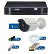Kit de Câmeras de Segurança - DVR Intelbras 1016 16 Ch G2 + 16 Câmeras Bullet Infravermelho Flex 4 em 1 Tecvoz QCB-136P HD 720p 1.0M + Acessórios