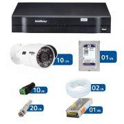 Kit de Câmeras de Segurança - DVR Intelbras 16 Ch G2 Tríbrido HDCVI + 10 Câmeras Infra VHD 3120B G2 HD 720p + HD WD Purple + Acessórios
