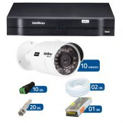 Kit de Câmeras de Segurança - DVR Intelbras 16 Ch G2 Tríbrido HDCVI + 10 Câmeras Bullet Infravermelho HDCVI Intelbras VHD 3120B G2 HD 720p 2,8mm + Acessórios