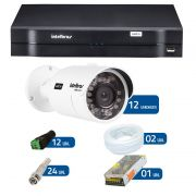 Kit de Câmeras de Segurança - DVR Intelbras 16 Ch Tríbrido HDCVI + 12 Câmeras Bullet Infravermelho HDCVI Intelbras VHD 3120B G2 HD 720p 2,8mm + Acessórios
