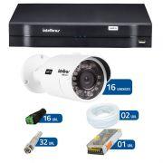 Kit de Câmeras de Segurança - DVR Intelbras 16 Ch Tríbrido HDCVI + 16 Câmeras Bullet Infravermelho HDCVI Intelbras VHD 3120B G2 HD 720p 3,8mm + Acessórios