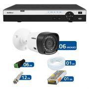 Kit de Câmeras de Segurança - DVR Intelbras 16 Ch Tribrido HDCVI Full HD + 6 Câmeras Infra VHD 1220B IR - Full HD Intelbras + Acessórios