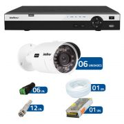 Kit de Câmeras de Segurança - DVR Intelbras 16 Ch Tribrido HDCVI Full HD + 6 Câmeras Infra VHD 3230 - Full HD Intelbras + Acessórios