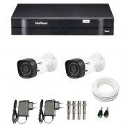 Kit de Câmeras de Segurança - DVR Intelbras 4 Ch G2 Tríbrido HDCVI + 2 Câmeras Infra VHD 1010B HD 720p + Acessórios