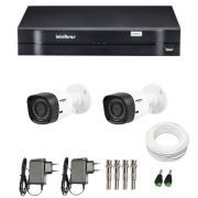 Kit CFTV 2 Câmeras Infra 720p Intelbras VHD 1010B G3 + DVR Intelbras Multi HD + Acessórios