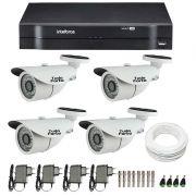 Kit CFTV 04 Câmeras Infra HD 720p JL Protec 30Mts + DVR Intelbras Multi HD + Acessórios