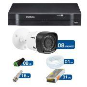 Kit CFTV 8 Câmeras Infra Full HD 1080p VHD 1220B IR Intelbras + DVR HDCVI Multi HD Intelbras 8 Ch + Acessórios