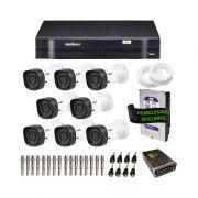 Kit de Câmeras de Segurança - DVR Intelbras 8 Ch G2 Tríbrido HDCVI + 8 Câmeras Infra VHD 1010B HD 720p + HD WD Purple 1TB + Acessórios