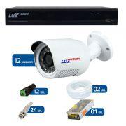 Kit de Câmeras de Segurança - DVR Stand Alone Híbrido AHD Luxvision ECD 16 Canais + 12 Câmeras Infra Luxvision HD 720p + Acessórios