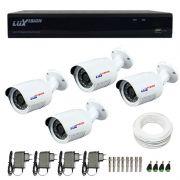 Kit CFTV 4 Câmeras Infra 720p Luxvision LVC5125B  + DVR Luxvision ECD + Acessórios