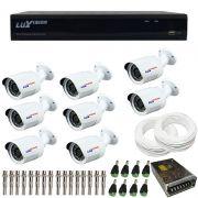 Kit de Câmeras de Segurança - DVR Stand Alone Híbrido AHD Luxvision ECD 8 Canais Smart + 8 Câmeras Infra Luxvision HD 720p + Acessórios