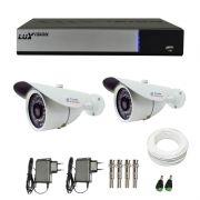 Kit de Câmeras de Segurança - DVR Stand Alone Híbrido AHD M Luxvision 4 Canais + 2 Câmeras Infra Tudo Forte 1.0M 720p + Acessórios