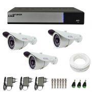 Kit de Câmeras de Segurança - DVR Stand Alone Híbrido AHD M Luxvision 4 Canais + 3 Câmeras Infra Tudo Forte 1.0M 720p + Acessórios