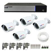 Kit de Câmeras de Segurança - DVR Stand Alone Híbrido AHD M Luxvision 4 Canais + 4 Câmeras Infra Luxvision HD 720p + Acessórios
