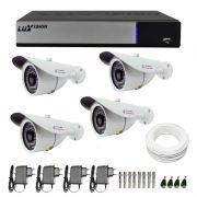 Kit de Câmeras de Segurança - DVR Stand Alone Híbrido AHD M Luxvision 4 Canais + 4 Câmeras Infra Tudo Forte 1.0M 720p + Acessórios