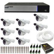 Kit de Câmeras de Segurança - DVR Stand Alone Híbrido AHD M Luxvision 8 Canais Smart + 8 Câmeras Infra Tudo Forte 1.0M 720p + Acessórios