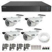 Kit de Câmeras de Segurança - DVR Stand Alone Tecvoz 04 Ch Flex 4 em 1 + 4 Câmeras Bullet Infravermelho 1000 Linhas Tudo Forte 2,8mm IP66 + Acessórios