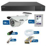Kit de Câmeras de Segurança - DVR Stand Alone Tecvoz 08 Ch Flex 4 em 1 + 8  Câmeras Bullet Infravermelho 1000 Linhas Tudo Forte 2,8mm IP66 + HD WD Purple + Acessórios