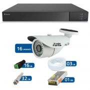 Kit de Câmeras de Segurança - DVR Stand Alone Tecvoz 16 Ch Flex 4 em 1 + 16 Câmeras Bullet Infravermelho 1000 Linhas Tudo Forte 2,8mm IP66 + Acessórios