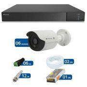 Kit CFTV 6 Câmeras Infra HD 720p QCB-128P + DVR Flex Tecvoz + Acessórios