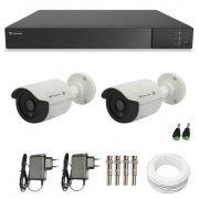 Kit de Câmeras de Segurança - DVR Stand Alone Tecvoz 4Ch Flex 4 em 1 + 2 Câmeras Bullet Infravermelho Flex 4 em 1 Tecvoz QCB-136P HD 720p 1.0M  + Acessórios