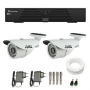 Kit de Câmeras de Segurança - DVR Tecvoz 4 Ch T1-LTVI04 + 2  Câmeras Bullet Infravermelho 1000 Linhas Tudo Forte 2,8mm IP66 + Acessórios