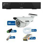 Kit de Câmeras de Segurança - DVR Tecvoz 8 Ch T1-LTVI08 + 8 Câmeras Bullet Infravermelho 1000 Linhas Tudo Forte 2,8mm IP66 + Acessórios