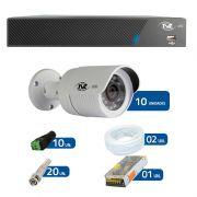 Kit de Câmeras de Segurança - DVR TVZ Security 16 Ch AHD M + 10 Câmeras Bullet AHD-BL1 TVZ Tecvoz Hibrida HD 720p lente HD 3.6mm + Acessórios