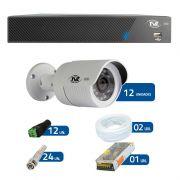 Kit de Câmeras de Segurança - DVR TVZ Security 16 Ch AHD M + 12 Câmeras Bullet AHD-BL1 TVZ Tecvoz Hibrida HD 720p lente HD 3.6mm + Acessórios