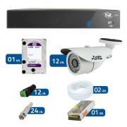 Kit de Câmeras de Segurança - DVR TVZ Security 16 Ch AHD M + 12 Câmeras Bullet Infravermelho AHD M Tudo Forte HD 720p 1.0M 3,6mm 36 Leds IP 66 IR 30 metros + HD WD Purple + Acessórios