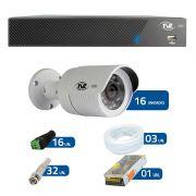 Kit de Câmeras de Segurança - DVR TVZ Security 16 Ch AHD M + 16 Câmeras Bullet AHD-BL1 TVZ Tecvoz Hibrida HD 720p lente HD 3.6mm + Acessórios