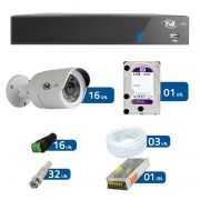 Kit CFTV 16 Câmeras Infra HD 720p Tecvoz AHD-BL1 + DVR TVZ Security AHD M + HD WD Purple + Acessórios