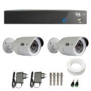 Kit de Câmeras de Segurança - DVR TVZ Security 4 Ch AHD M + 2  Câmeras Bullet AHD-BL1 TVZ Tecvoz Hibrida HD 720p lente HD 3.6mm + Acessórios