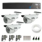 Kit de Câmeras de Segurança - DVR TVZ Security 4 Ch AHD M + 3 Câmeras Bullet Infravermelho 1000 Linhas Tudo Forte 2,8mm IP66 + Acessórios