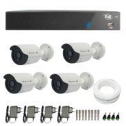 Kit de Câmeras de Segurança - DVR TVZ Security 4 Ch AHD M + 4 Câmeras Bullet Infravermelho Flex 4 em 1 Tecvoz QCB-136P HD 720p 1.0M + Acessórios