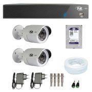 Kit de Câmeras de Segurança - DVR TVZ Security 4 Ch AHD M + 2  Câmeras Bullet AHD-BL1 TVZ Tecvoz Hibrida HD 720p lente HD 3.6mm + HD WD Purple + Acessórios