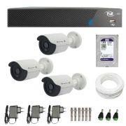 Kit de Câmeras de Segurança - DVR TVZ Security 4 Ch AHD M + 3 Câmeras Bullet Infravermelho Flex 4 em 1 Tecvoz QCB-136P HD 720p 1.0M + HD WD Purple + Acessórios